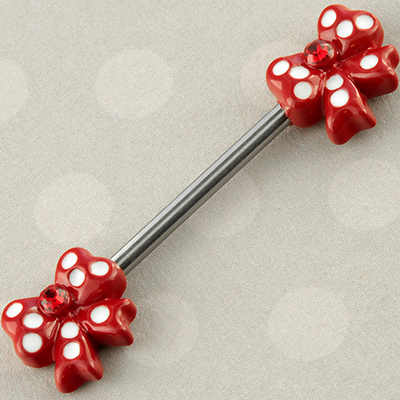 Red Polka Dot Bow Nipple Barbell