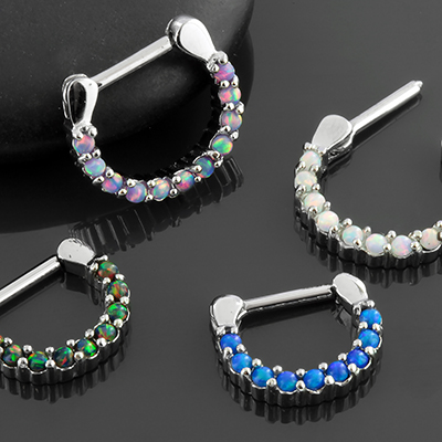 Prong Set Synthetic Opal Septum Clicker