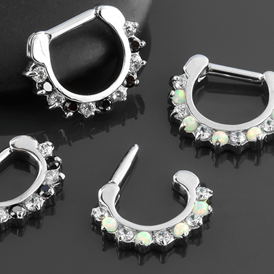 Prong Set Alternating Gemmed Septum Clicker