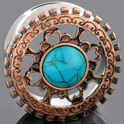 Steel and Bronze Eyelet with Synthetic Turquoise