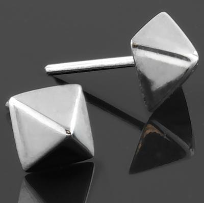 Silver Square Pyramid Threadless End