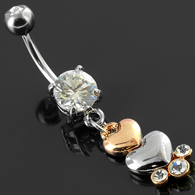 Double Heart Dangle Navel