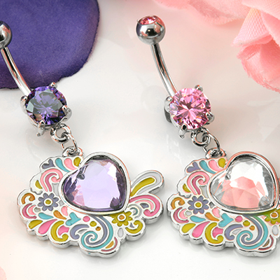 Graffiti Heart Dangle Navel