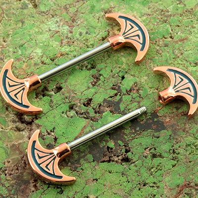 Ornate Axe Nipple Barbell