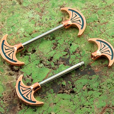 Ornate axe nipple barbell