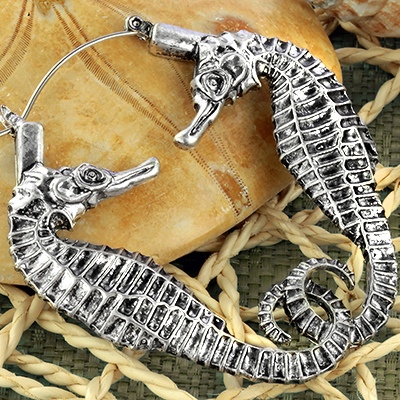 Seahorse hoop earrings