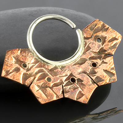 Silver and copper hammered ridged seamless ring