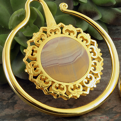 Eye of the Lotus with picture jasper inlays