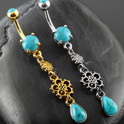 Flower Turquoise Dangle Navel
