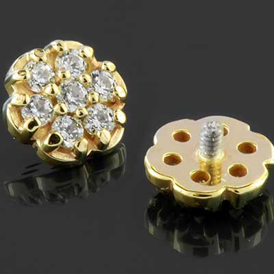 Internally Threaded 18k Gold Flower End