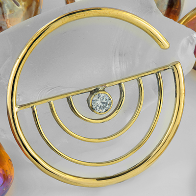 Brass gemmed half circle design