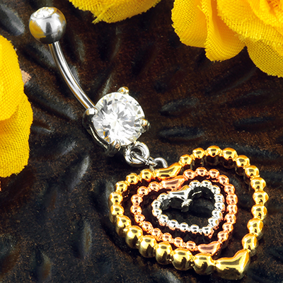 Beaded Heart Dangle Navel