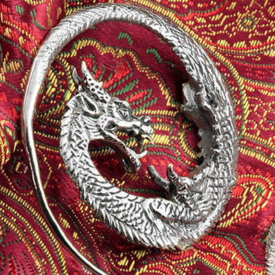 White Brass Dragon Hoops