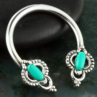 Circular Barbell with Ornate Turquoise Ends