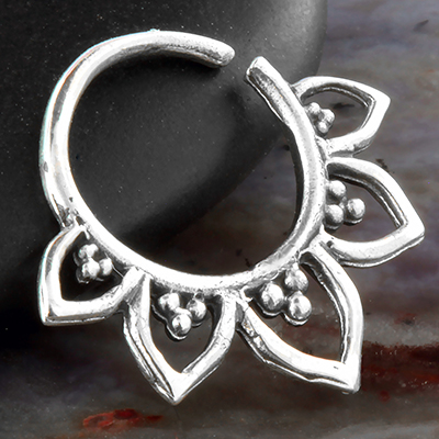Silver Spiked Petal Septum Ring