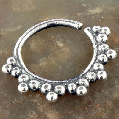 Silver Beaded Sun Septum Ring