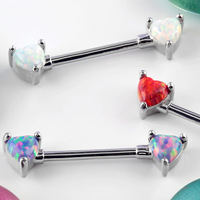 Forward Facing Opal Heart Nipple Barbell