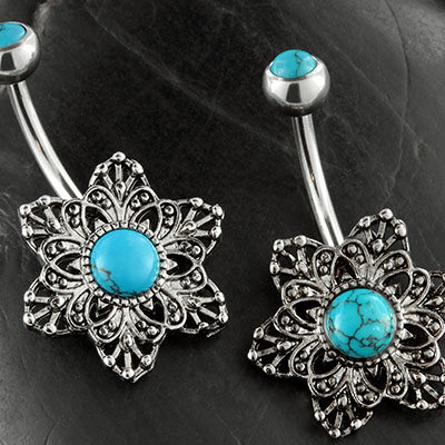 Floral turquoise navel