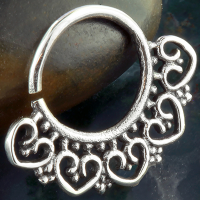 Silver Beaded Heart Septum Ring