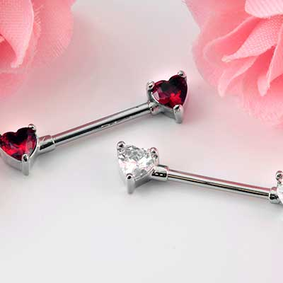 Forward Facing Gemmed Heart Nipple Barbell