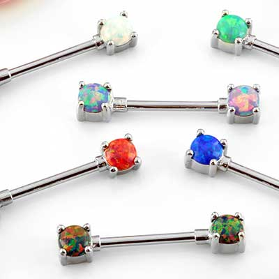 Forward Facing Opal Nipple Barbell