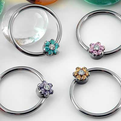 Flower Captive Bead Ring