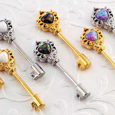 Opal heart key nipple barbell