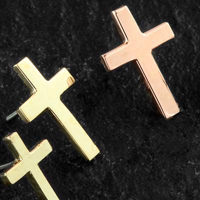 Threadless 18K gold cross end