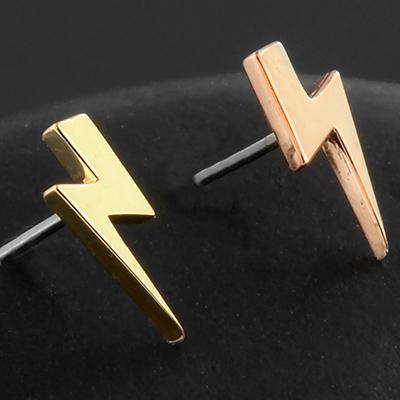 Threadless 18K gold lightning bolt end