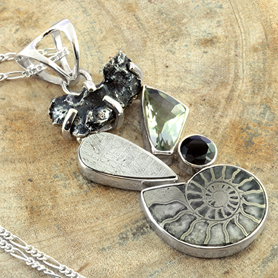 Meteorite and Ammonite Silver Necklace