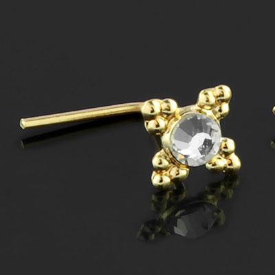 9K gold gemmed petal nosescrew