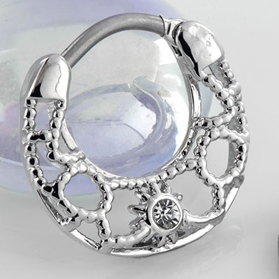 Gemmed Ornate Sun Clicker Ring