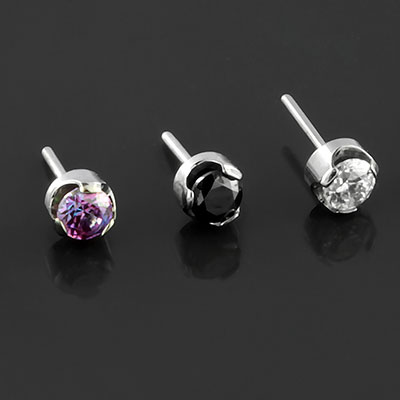 Threadless Titanium Prong Set Gem End