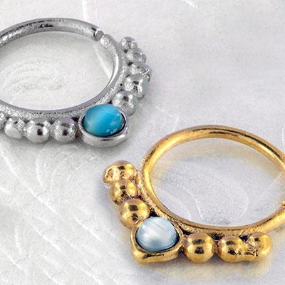 Beaded cats eye seamless ring