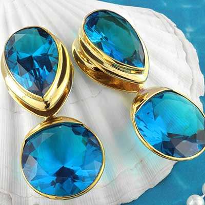 Solid Brass with Blue Glass Saddle Weights