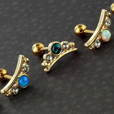 Synthetic opal tiara barbell