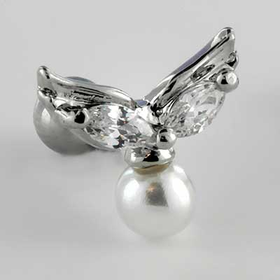 Winged faux pearl barbell
