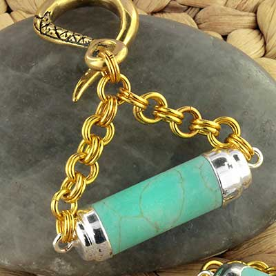 Brass and Turquoise Cylinder Weights