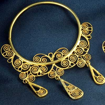 14k Gold Plated Filligree Hoops