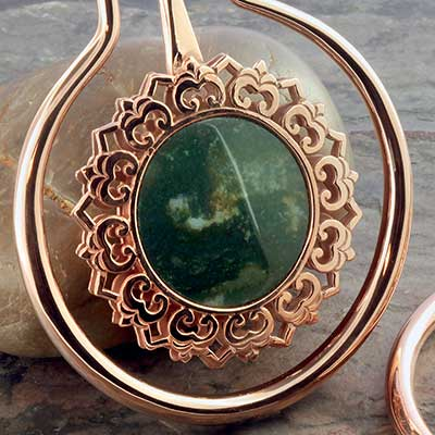 Eye of the Lotus with moss agate inlays