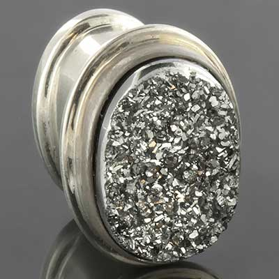 Silver Druzy Oval Plugs