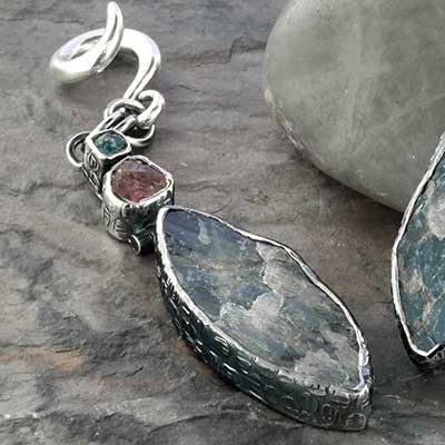 Silver and rough labradorite weights