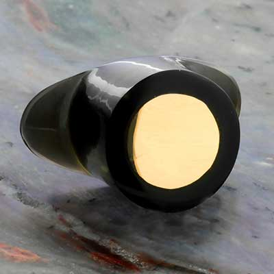 Black obsidian labret with gold inlay