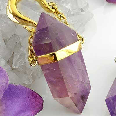 Solid brass and amethyst weights