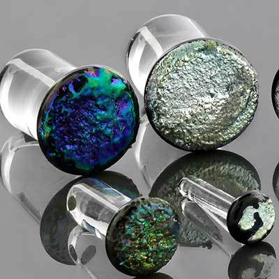 Single Flare Pyrex Druzy Plugs