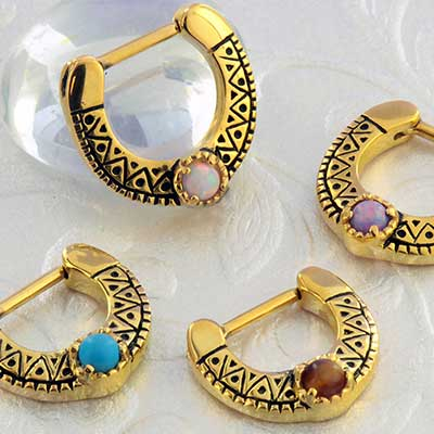 Geometric Cabochon Septum Clicker