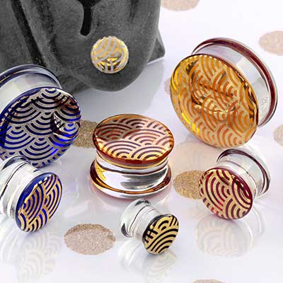 Pyrex Glass Foil Plugs (Japanese Wave)