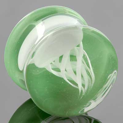 Pyrex glass jellyfish plugs (White on mint)
