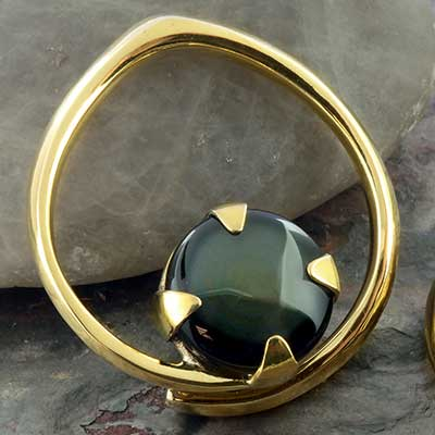 Solid brass coils with rainbow obsidian