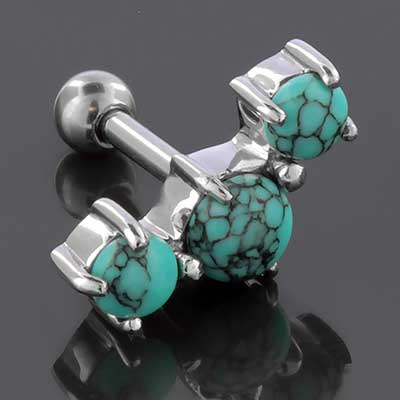 Prong set trio turquoise barbell